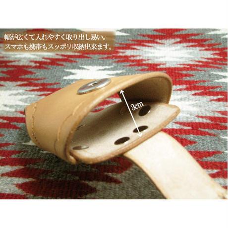 本ヌメ革 スタンピング加工 マグネット式金具 携帯電話・スマートフォンケースtc05n