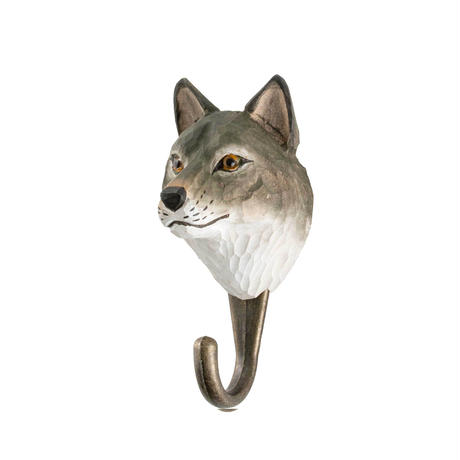 Wildlife Garden 手彫りアニマル・フック:オオカミ