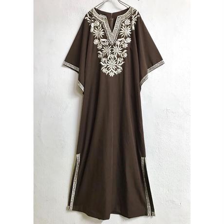 VINTAGE フィリピン刺繍ワンピース(BROWN)[7170]