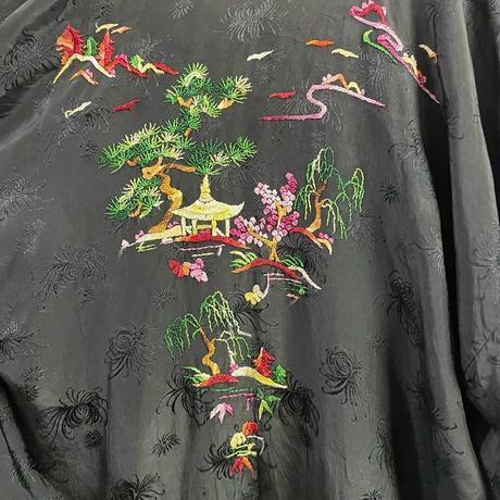 EURO vintage ブラック 庭園モチーフ チャイナ刺繍ガウン [9193]