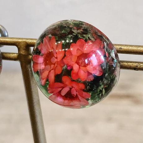 1960s ピンク花×ラメ 透明樹脂スノードームイヤリング[0132]