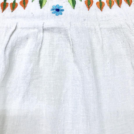 ヴィンテージ インド刺繍チュニック(WHITE)[7018]