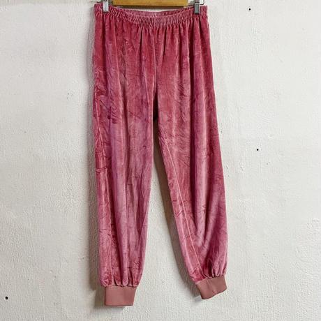 ピンクベロア 裾リブ イージーパンツ[9205]