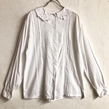 VINTAGE お花刺繍デザインブラウス(WHITE)[7152]