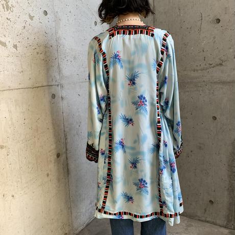VINTAGE パキスタン バロチ刺繍 花柄 ガウン[9290]