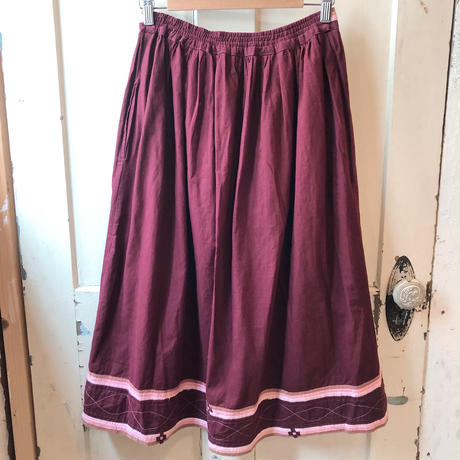 1970s  インド綿 ウエスト裾デザインスカート[9801]