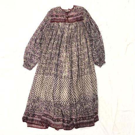 1970'S VINTAGE インド綿ワンピース (PINK) [7072]