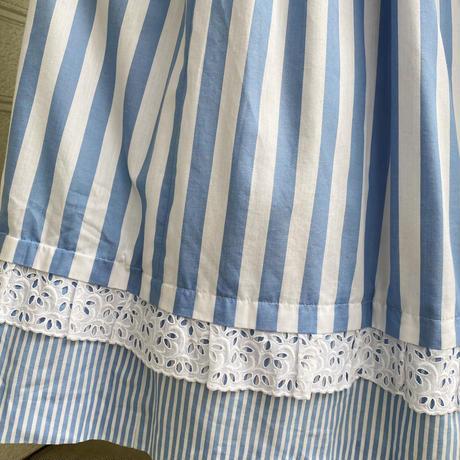 ブルー×ホワイト 裾レース チロルスカート[2019]