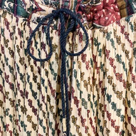 1970s vintage ベージュペイズリー柄 インド綿スカート  [2155]