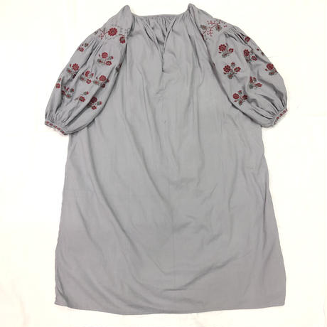 1920'S ANTQUE ウクライナ刺繍後染めワンピース(GRAY)[7048]