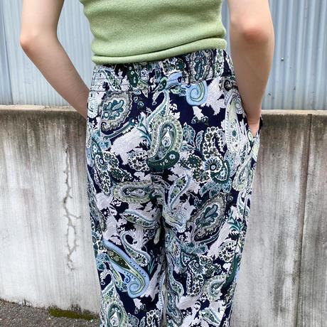 ペイズリー柄 裾リブ コットンイージーパンツ [9046]