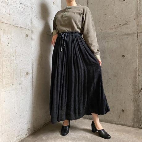 vintage ボタニカルモチーフ刺繍入り インドレーヨンスカート[8654]
