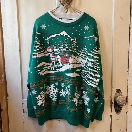 雪国モチーフ フロッキープリント クリスマススウェット[9875]