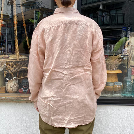 used リネンロングスリーブシャツ (pink overdyed)[8779]