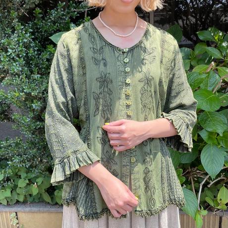vintage 刺繍デザイン グリーン インドレーヨン トップス[2165]