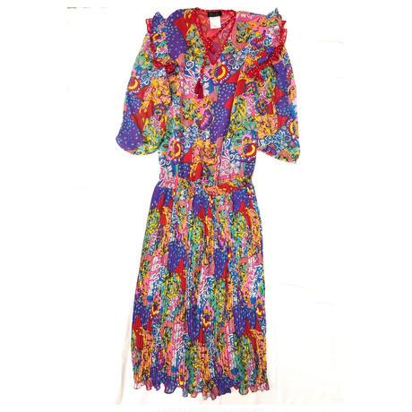 1980〜90'S VINTAGE 「Diane Freis」パッチワーク柄ドレス(RED) [7083]