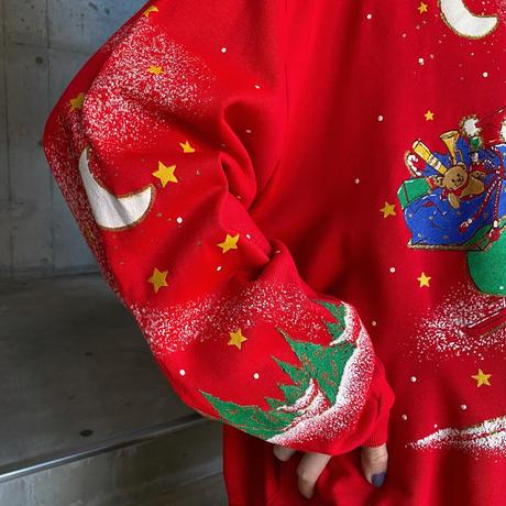 サンタモチーフ フロッキープリントクリスマススウェット[9876]