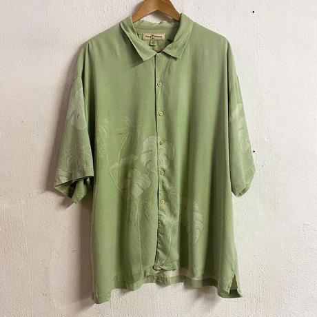 tommy bahama ボタニカル織柄 グリーン シルクアロハシャツ[8749]