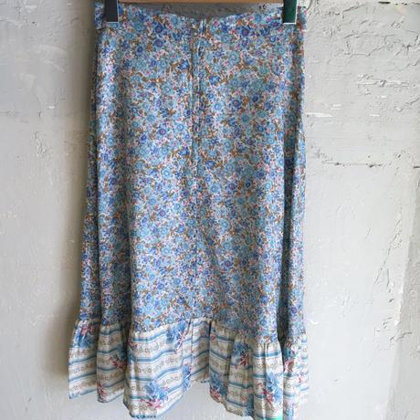1970s 水色花柄切り替えデザインティアードスカート[9225]
