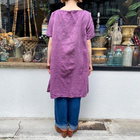 1920s French Antique イニシャル入りフリルデザインリネンドレス (purple overdyed) [2170]