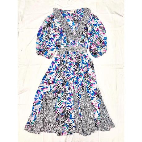 1980〜90'S VINTAGE 「Susan Freis」ドット×ペイント柄ドレス (WHITE) [7081]