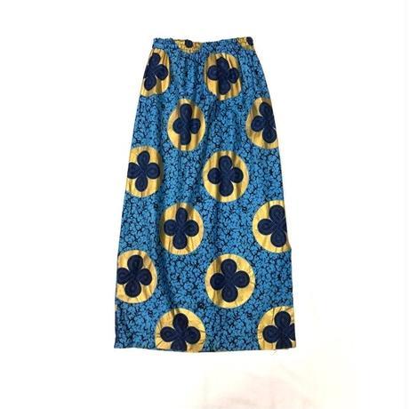 アフリカンファブリックゴールドプリントロングスカート (BLUE) [7092]