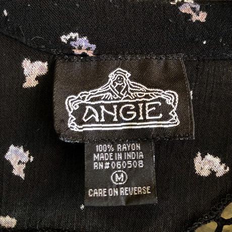 used「ANGIE」黒に薄水色花柄フィッシュテールデザインチュニック [9174]