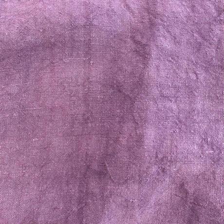 1920s French Antique レースデザインリネンドレス (purple overdyed) [2172]