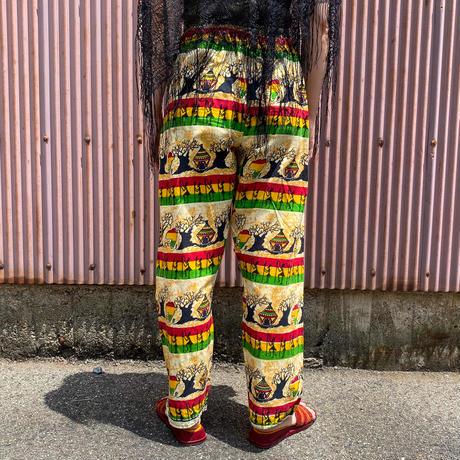 vintage ラスタカラー×人プリント アフリカンバティック パンツ[2288]
