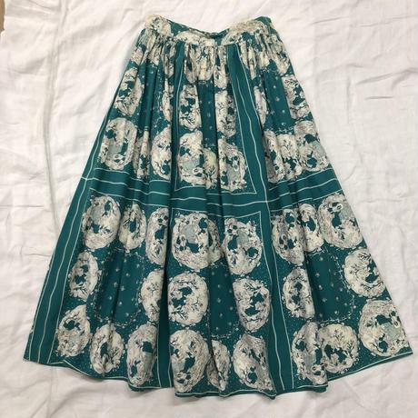 1950'S VINTAGE 女の人柄サーキュラースカート(GREEN)[7071]