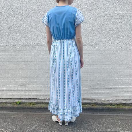 euro vintage ナイティ ドレス ブルー花柄 & レッドテープ [2140]