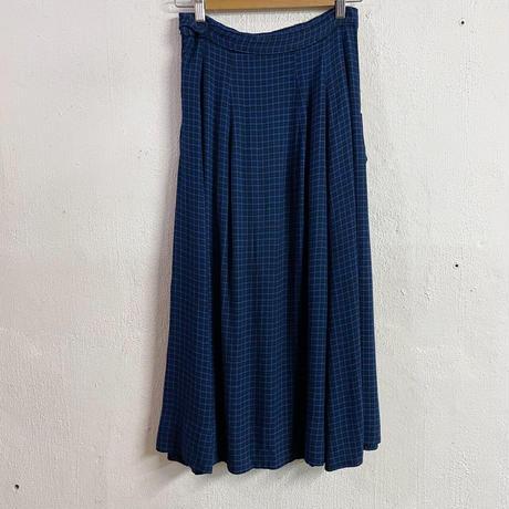 euro vintage ブルー チェック柄 ポケット スカート[9197]