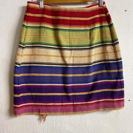 Vintage コンチョ付マルチボーダー ラップスカート[8757]