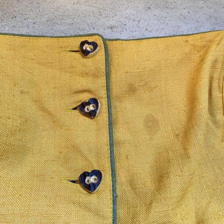 EURO vintage ハートウッドボタン付 ストライプ柄切り替えチロルワンピース [2289]