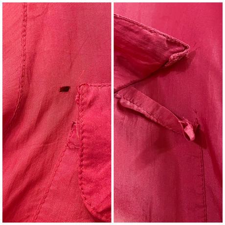 1980s シルク レッド 胸フラップポケット デザインブラウス[8583]