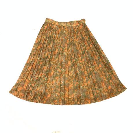 1960'S ヴィンテージ 水彩画風モザイク柄プリーツスカート(ORANGE)[7020]