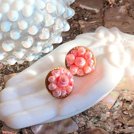 1960〜70s ピンクの巻貝パーツイヤリング[0136]
