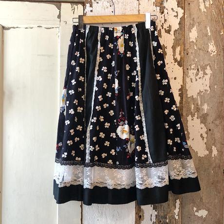 vintage 花柄×レース ストライプ柄フレアスカート [9462]