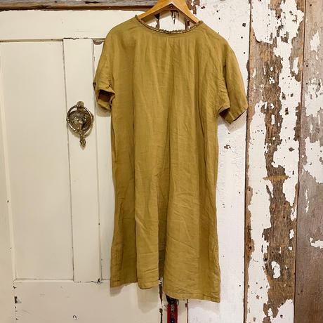 1920's antique コットン ドレス (green overdyed) [9781]