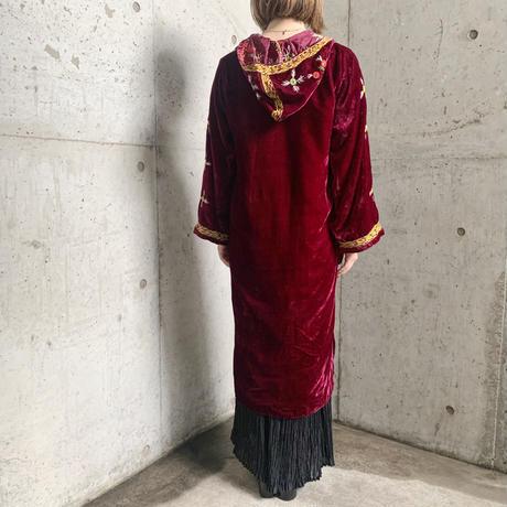 70s vintage deadstock パキスタン刺繍ドレス ワインレッド [7313]