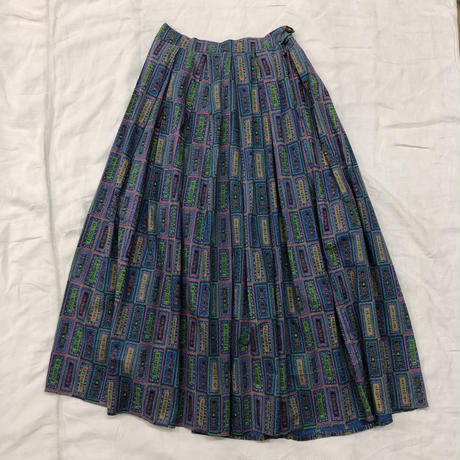 1950'S VINTAGE 総柄サーキュラースカート(NAVY)[7069]
