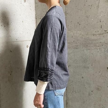 vintage ボタニカル刺繍 キーネック チュニック(black overdye)[2037]