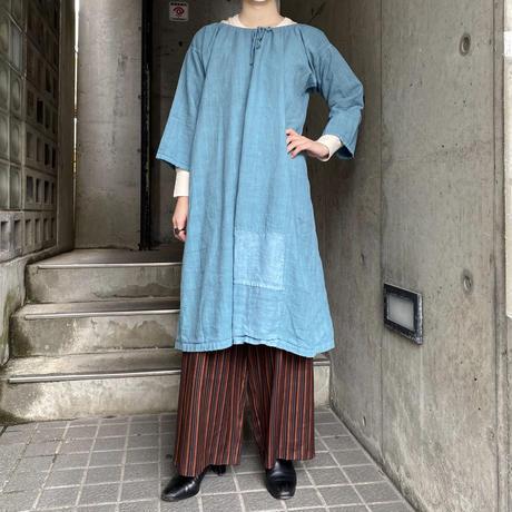 "French antique ストライプ織柄 ""boro""リネンワンピース (blue overdyed) [9827]"