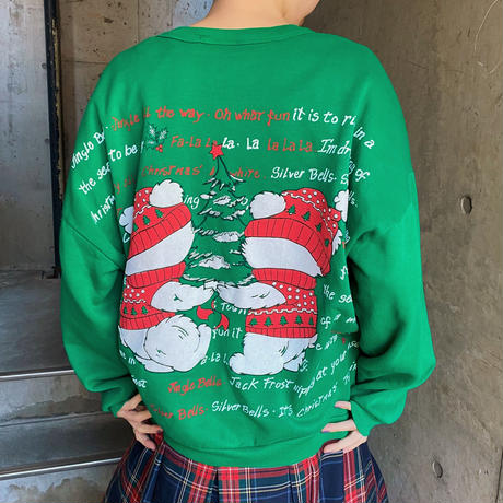 くまプリント クリスマススウェット[9874]