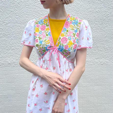 euro vintage ナイティ ドレス ピンクライン &カラフル花柄[2141]