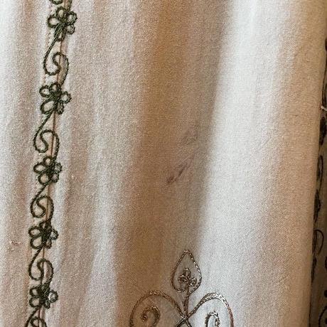 vintage 刺繍デザイン ベージュ インドレーヨンワンピース[2164]
