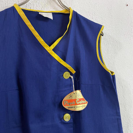 euro vintage deadstock ブルー&イエロー ノースリーブ ワンピース[8688]