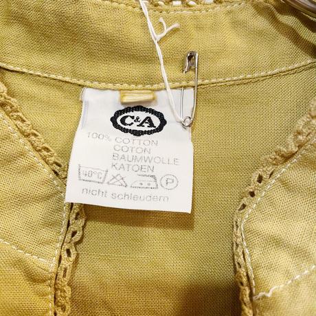 スタンドカラー チロル ショート丈 ブラウス (yellow overdyed) [9983]
