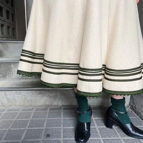 波フリンジ×刺繍テープ ウール  フレア チロル スカート[9892]