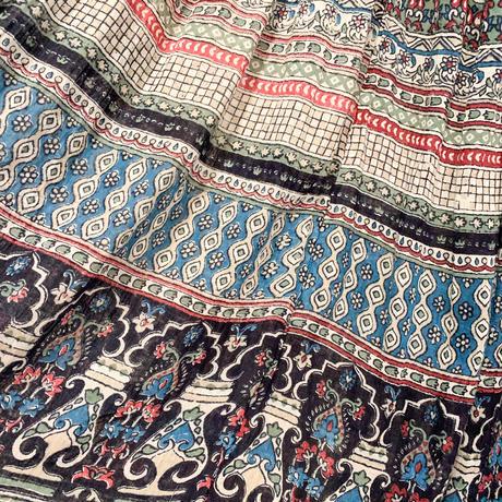 1970s vintage ブルー ボタニカル柄 インド綿スカート  [2153]